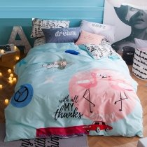 Girls Pink Red Black and Light Blue Flamingo Print Animal Themed Cute Style Fashion 100% Cotton Full Size Bedding Sets