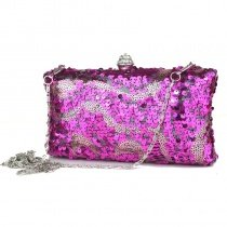 Hot Pink Sparkle Sequin Rhinestone Women Small Evening Clutch Punk Style Vintage Magnetic Closure Chain Crossbody Shoulder Bag