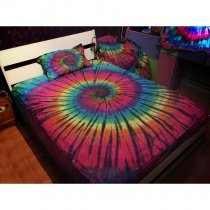 Rose Pink Yellow Blue and Green Neon Colored Tie Dye Beautiful Trippy Bohemian Style 100% Cotton Twin, Full, Queen Size Bedding Sets