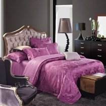 Fancy Mulberry Purple Floral and Western Paisley Pattern Elegant Luxury Sequin Jacquard Satin Full, Queen Size Bedding Sets