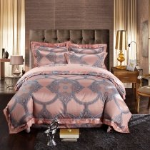 Rose Gold and Silver Medieval Pattern Moroccan Style Royal Style Noble Excellence Jacquard Satin Full, Queen Size Bedding Sets