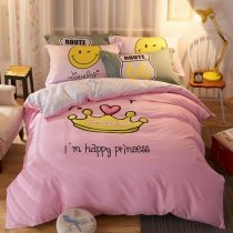 Beautiful Girls Soft Pink and Yellow Crown Print Pastel Style Cute 100% Cotton Twin, Full Size Bedding Sets