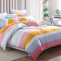 Pastel Pale Pink White Aqua and Slate Blue Colorful Rainbow Stripe Print Funky Girls Full, Queen Size Bedding Sets