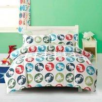 Aqua Blue Red Green and White Dinosaur Print Polka Dot Design Animal Themed Twin, Full Size Bedding Sets for Kids