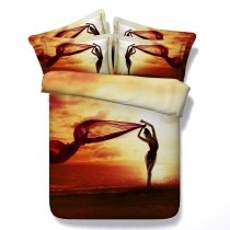 Orange Red and Brown Beautiful Girl on Beach Tropical Hawaiian Style Sunset Scene Twin, Full, Queen, King Size Bedding Sets