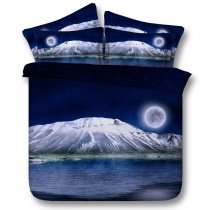 Deep Blue Silver and White Beautiful Mount Fuji Print Japanese Scenery 3D Design Twin, Full, Queen, King Size Bedding Sets