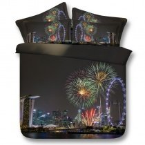 Trendy Gray Blue and Red Fireworks and Ferris Wheel Print Sparkle Holiday Themed City Chic Twin, Full, Queen, King Size Bedding Sets