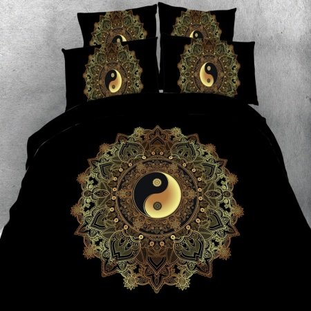 Bohemian Hippie Style Black Gold Gray and Rust Orange Vintage Medallion Moroccan Tribal Print Twin, Full, Queen, King Size Bedding Sets