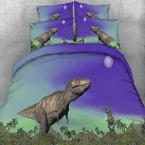 Hunter Green Brown and Blue Dinosaur Print Jurassic Animal 3D Design Shabby Chic Twin, Full, Queen, King Size Bedding Sets