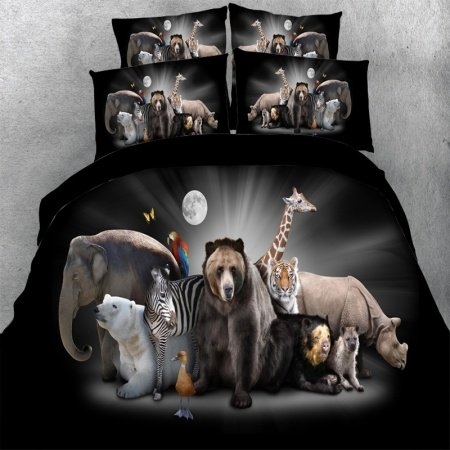 Black White and Brown Elephant Polar Bear Zebra Tiger Hound Giraffe Print Zoo Animal Themed Twin, Full, Queen, King Size Bedding Sets