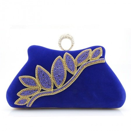 Sapphire Blue Soft Velvet Women Mini Hard Shell Evening Clutch Leaf Pattern Bling Rhinestone Lock Closure Chain Crossbody Shoulder Bag