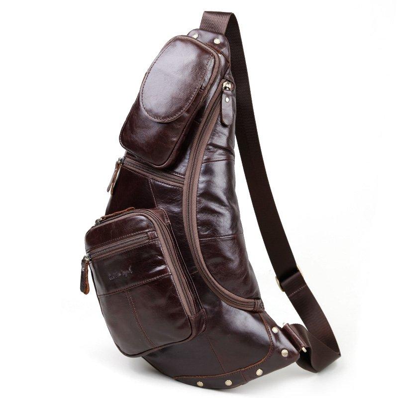 Maroon Brown Distressed Waxed Genuine Cowhide Leather Sling Backpack Vintage Rivet Studded Large Travel Hiking Crossbody Shoulder Chest Bag