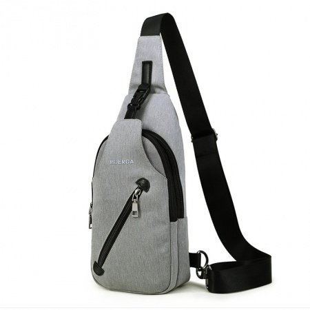 Silver Gray Waxed Canvas Men Crossbody Shoulder Chest Bag Hipster Sewing Pattern Anti Theft Travel Hiking Cycling Sling Backpack