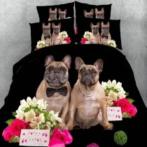 Black Brown Pink and White Pug Dog and Flower Print Farm Animal Themed Cute Style Twin, Full, Queen, King Size Bedding Sets for Teens
