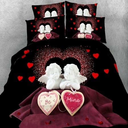 Black White and Red 3D Love Angel and Heart Print Romantic Cupid Themed Wedding Twin, Full, Queen, King Size Bedding Sets