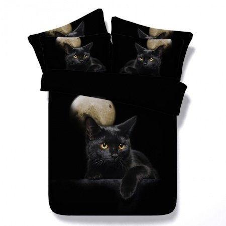 Black White and Khaki Brown Personalized Cute Kitty Cat Moon Print Farm Animal Themed Twin, Full, Queen, King Size Bedding Sets