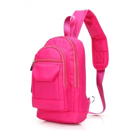 Hot Pink Oxford Elegant Girly Girls Small Crossbody Shoulder Chest Bag Durable Sewing Pattern Zipper Casual Travel Hiking Sling Backpack