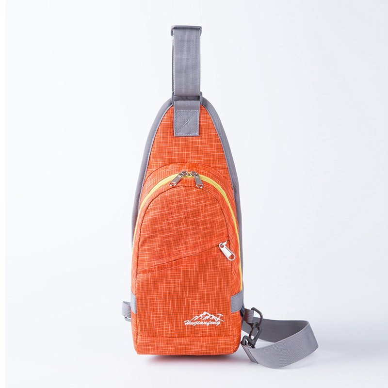 Sturdy Bright Orange Nylon Boys Small Crossbody Shoulder Chest Bag Trend Grid Plaid Print Travel Hiking Cycling Sling Backpack