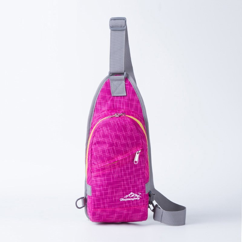 Lightweight Hot Pink Nylon Girls Small Crossbody Shoulder Chest Bag Vogue Grid Plaid Print Travel Hiking Cycling Sling Backpack