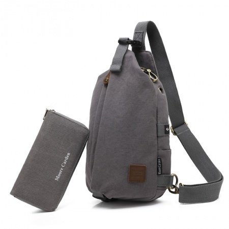 Dark Gray Waxed Canvas Men Small Crossbody Shoulder Chest Bag Simply Chic Anti Theft Casual Travel Hiking Cycling Sling Backpack