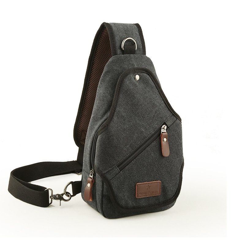 Dark Gray Waxed Canvas Men Small Crossbody Shoulder Chest Bag Vintage Sewing Pattern Zipper Travel Hiking Cycling Sling Backpack