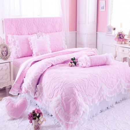 Light Pink Quilted Pattern Vintage Lace Gathered Bedspread Sophisticated Elegant Girls Twin, Full, Queen Size Bedding Sets