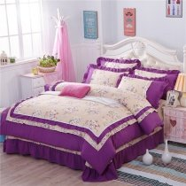 Sophisticated Elegant Dark Purple Blue Pink Green and Cream Flower Print Romantic Shabby Chic Ruffle Lace Full Size Bedding Sets.