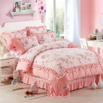 Sophisticated Elegant Coral Pink White Red and Green Rustic Flower Print Shabby Chic Drop Ruffle Romantic Girls Full Size Bedding Sets