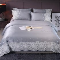 Silver Gray and White Vintage Lace Applique Flower Monogrammed Romantic Feminine Sophisticated Elegant Full, Queen Size Bedding Sets