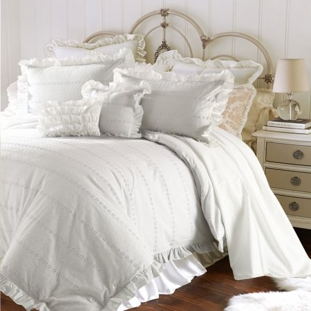 Luxurious Romantic Solid White Embroidered Flower Simply Shabby Chic Ruffle Unique Adults Full, Queen Size Bedding Sets