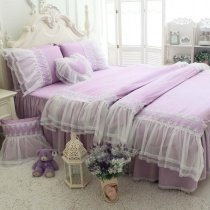 Lilac Purple Vintage Shabby Chic Victorian Lace Gathered Ruffle Sophisticated Elegant Feminine Quilted Twin, Full, Queen Size Bedding Sets