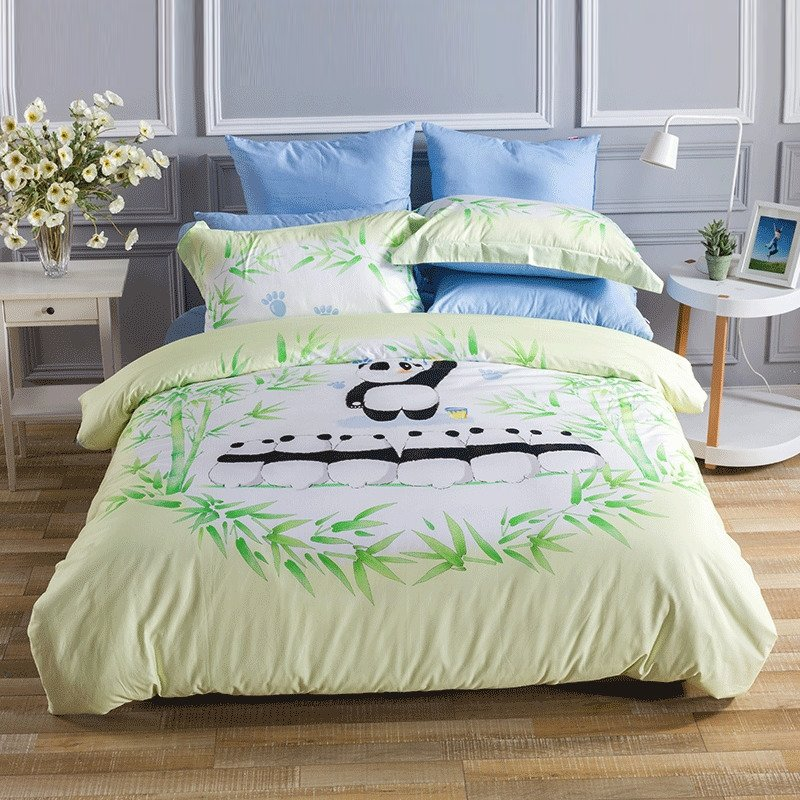 Black White Beige and Emerald Green Animal Planet Panda and Bamboo Print Jungle Safari Themed Girls Boys Twin, Full, Queen Size Bedding Sets
