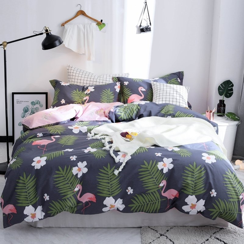 Dark Blue Pink White and Lime Green Fun Flamingo Floral Print Wild Animal Themed Tropical Hawaiian Full, Queen Size Bedding Sets