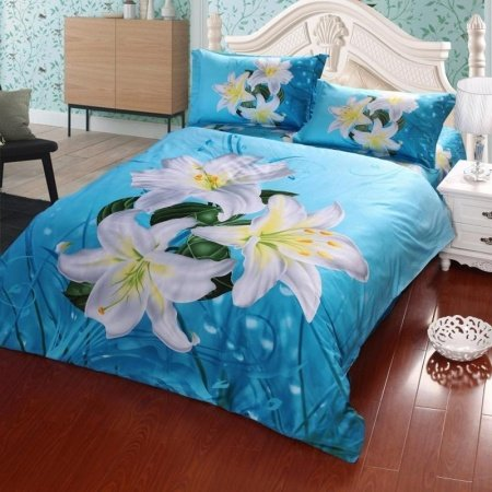 Sapphire Blue Aqua White and Yellow Asian Lily Print Garden Images Country Chic Full, Queen Size Bedding Sets