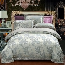 Vintage Gray and Silver Scroll Pattern Abstract Design Old Fashion Shabby Chic Full, Queen Size Bedding Sets