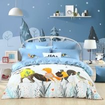 Cartoon Animal Fox, Squirrel and Duck Print Jungle Safari Themed Full, Queen Size Bedding Sets in Sky Blue Gray Yellow and White