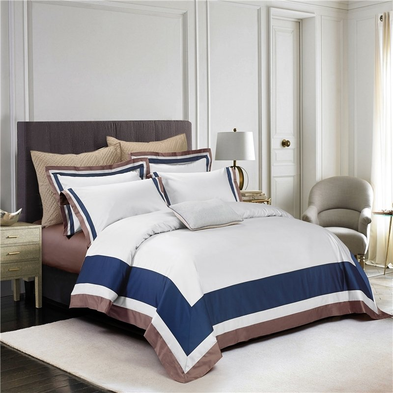luxury hotel style navy blue white and coffee brown border simply chic noble excellence villa. Black Bedroom Furniture Sets. Home Design Ideas