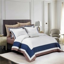 Luxury Hotel Style Navy Blue White and Coffee Brown Border Simply Chic Noble Excellence Villa Pima Cotton Full, Queen Size Bedding Sets