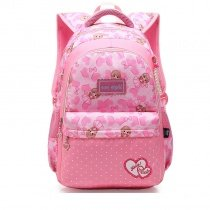 Coral and Blush Pink Polyester Elegant Girls Pupil School Book Bag Polka Dot Bow Heart Print Preppy Campus Backpack