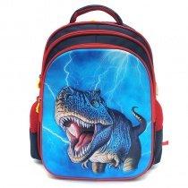 Aqua Blue and Red Oxford Boys Pupil Preppy Book Bag Animal Dinosaur Tyrannosaurus Rex Print Kids School Campus Backpack