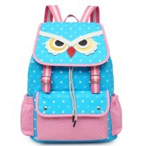 Light Blue White and Pink Polyester Girls Pupil School Book Bag Cool Animal Owl-shapred Polka Dot Print Campus Flap Drawstring Backpack