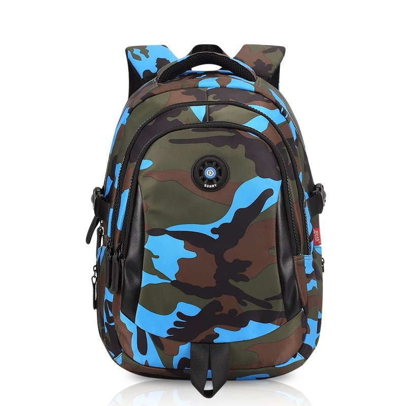 e09b6d82 Black Blue Taupe and Army Green Nylon Pupil Campus School Book Bag Military  Camouflage Print Kids Hiking Travel Backpack
