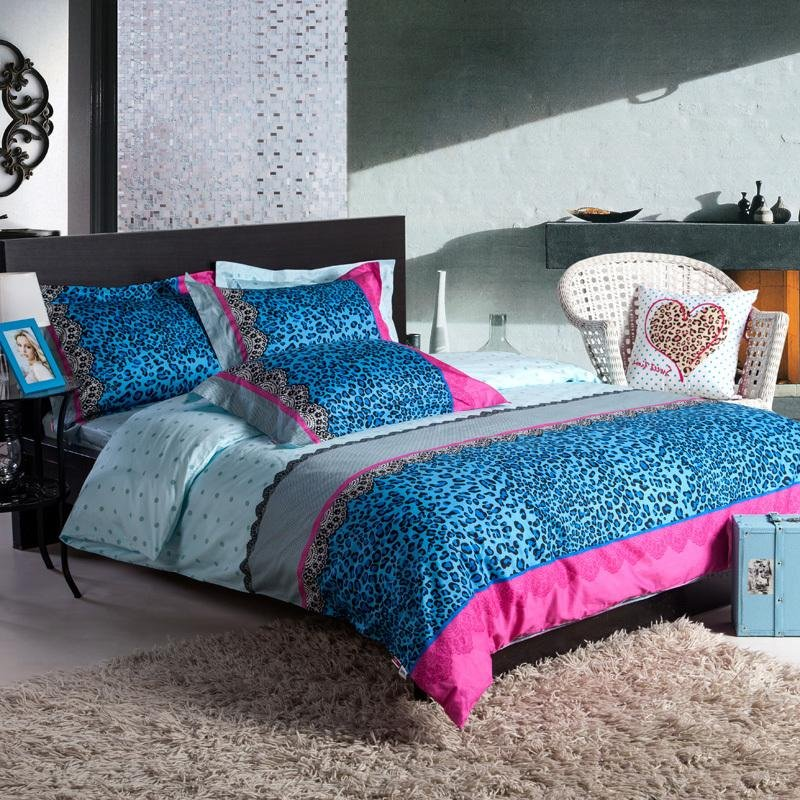 Teal Blue Hot Pink and Tiffany Blue Leopard, Cheetah Grain Print Sexy Full, Queen Size 100% Cotton Bedding Sets