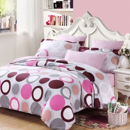 White Gray Purple and Hot Pink Circle and Polka Dot Print Full, Queen Size Girls Bedroom Bedding Sets