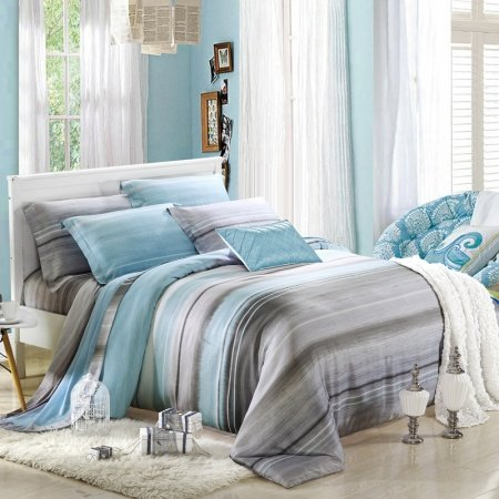 Sky Blue and Grey Stripe Print Modern Chic Gorgeous Fresh World 100% Soft Modal Tencel Full, Queen Size Bedding Sets