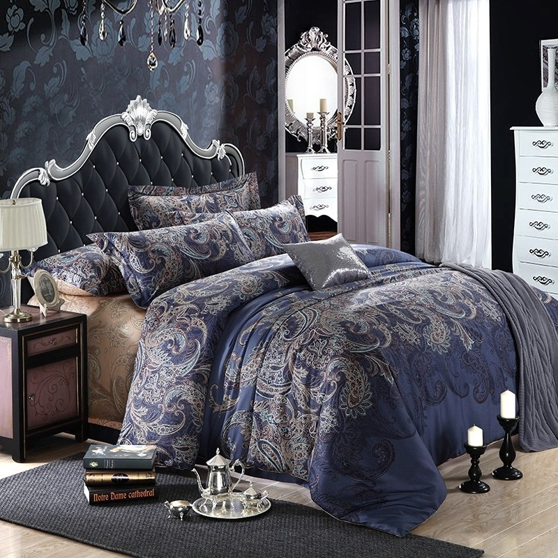 Dark Blue And Grey Shabby Chic Traditional Paisley And
