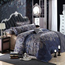 Dark Blue and Grey Shabby Chic Traditional Paisley and Tribal Print 100% Egyptian Cotton Full, Queen Size Bedding Sets
