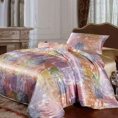 Light Purple Orange and Green Contemporary Plaid Checkered Print 100% Mulberry Silk Full, Queen Size Bedding Sets