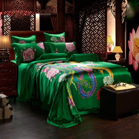 Emerald Green Gold and Pink Chinese Dragon and Phoenix with Peony Blossom Print Luxury Wedding Themed 100% Mulberry Silk Full Size Bedding Sets