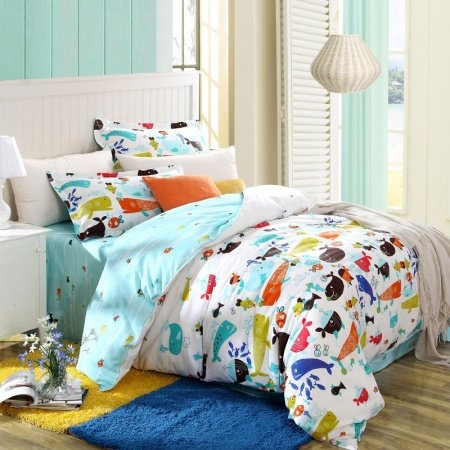 Light Blue White and Colorful Ocean Life Banana Fish Themed Full Size Bedding for Kids Girls|Boys